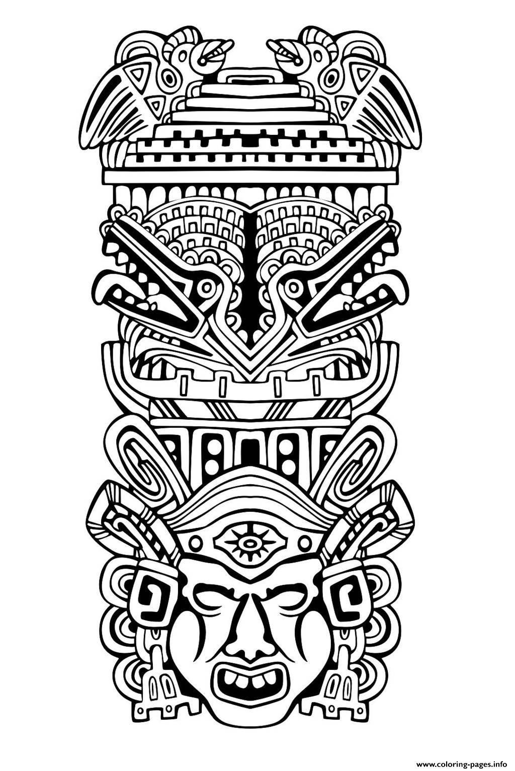 Adult Totem Inspiration Inca Mayan Aztec 4 Coloring Pages