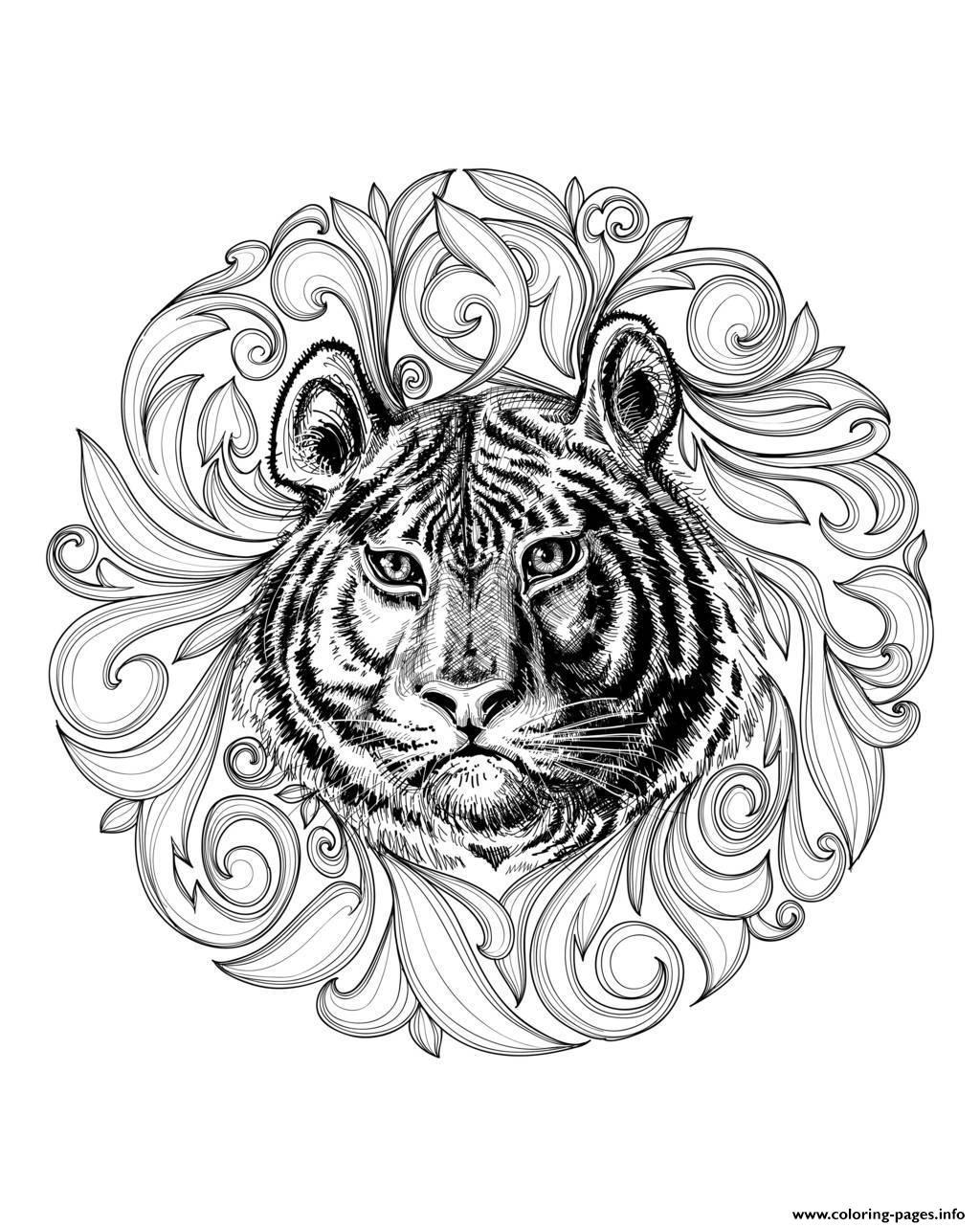 Adult africa tiger leaves framework coloring pages free printable