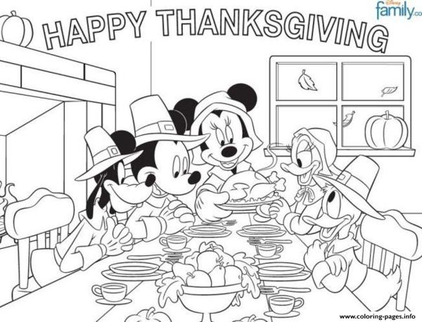 disney thanksgiving coloring pages # 1