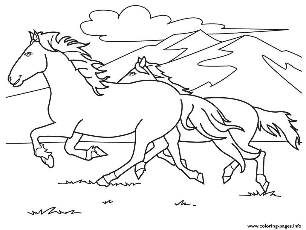 Running White Horse S0e59 Coloring Pages Printable