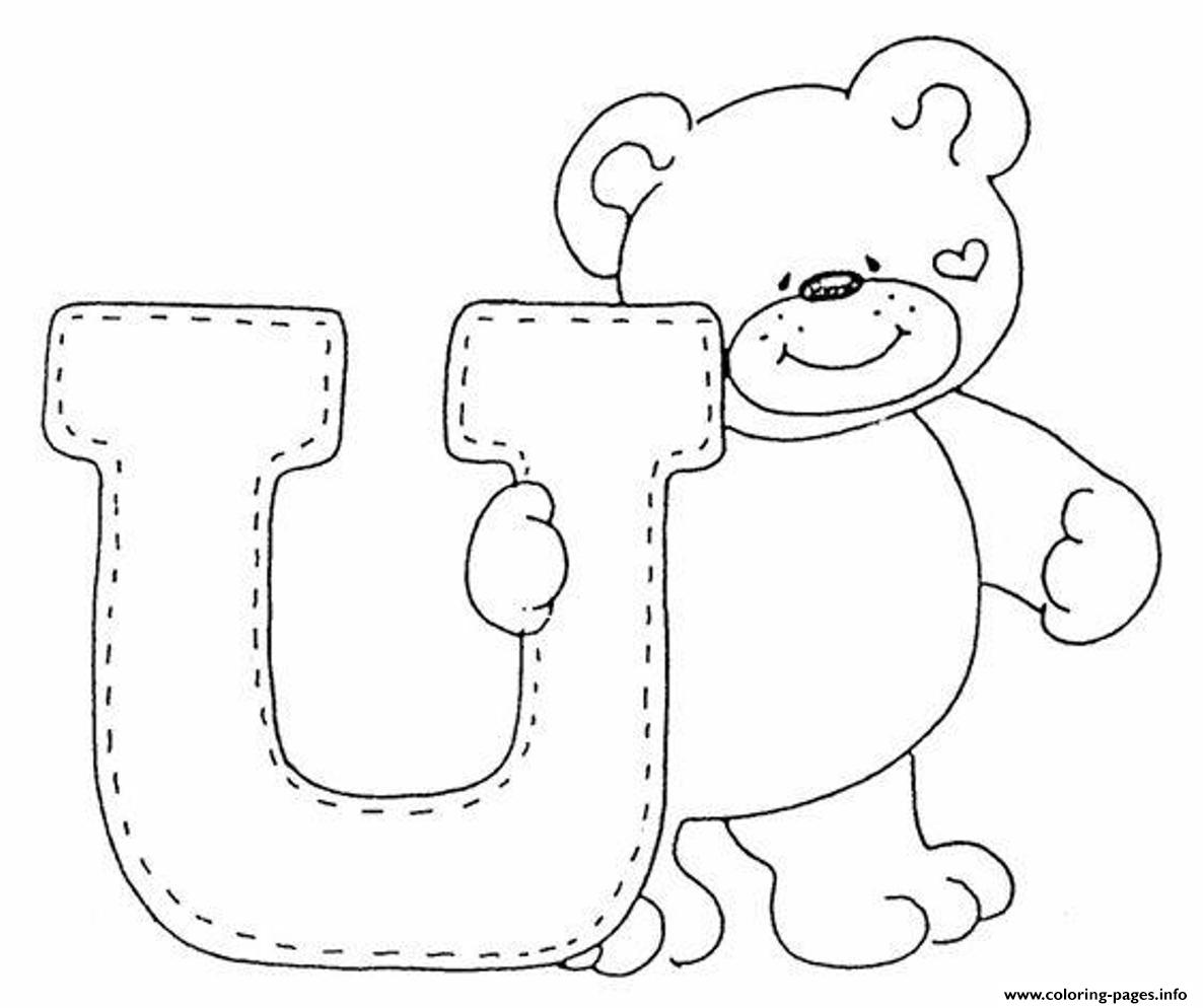 Cute Bear Alphabet S Freea3a4 Coloring Pages Printable