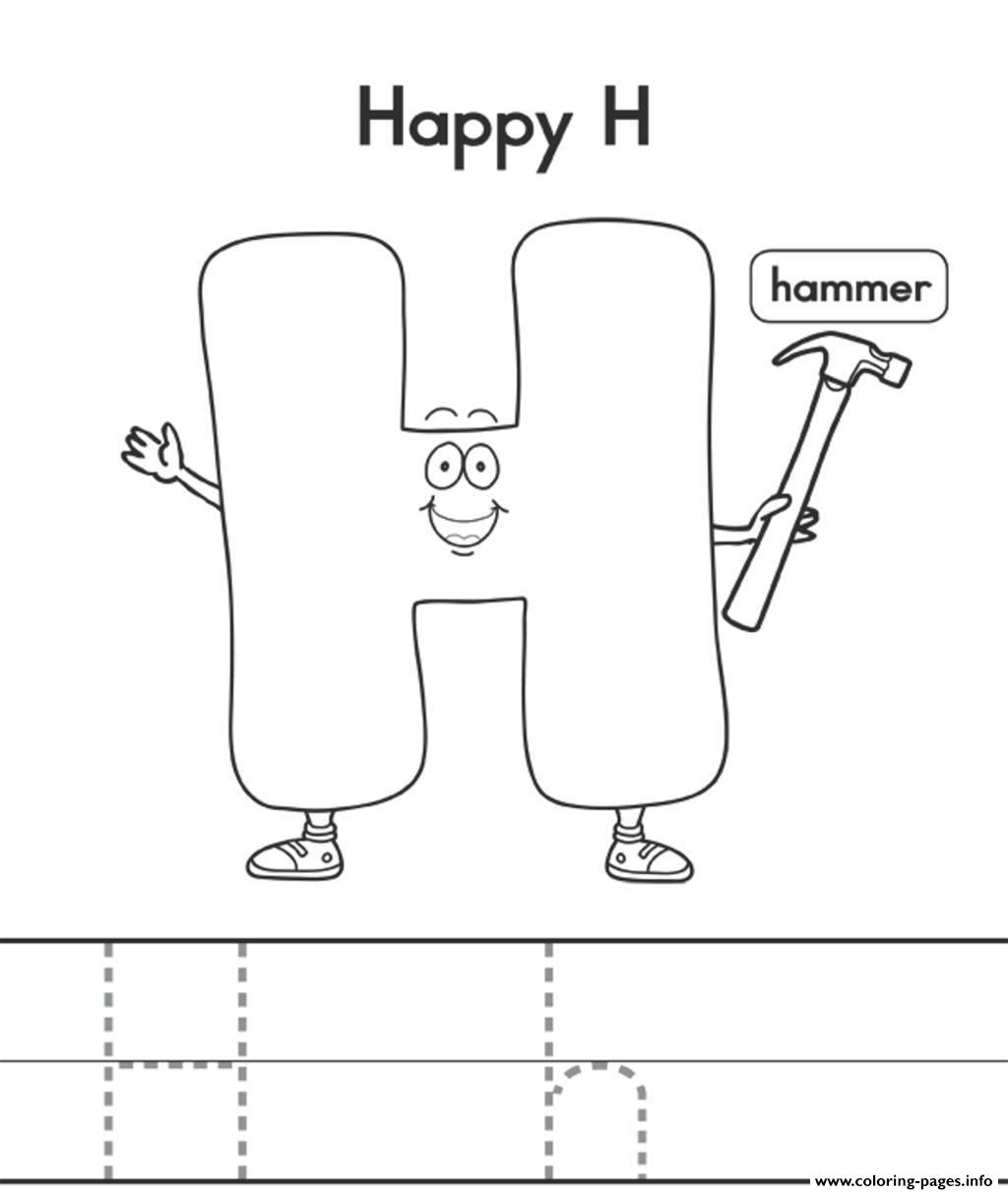 Happy H And Hat Alphabet Coloring Pages Printable