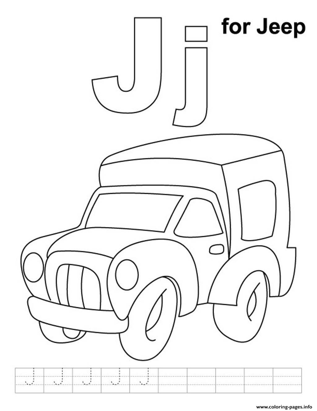 Alphabet J For Jeepa9c0 Coloring Pages Printable