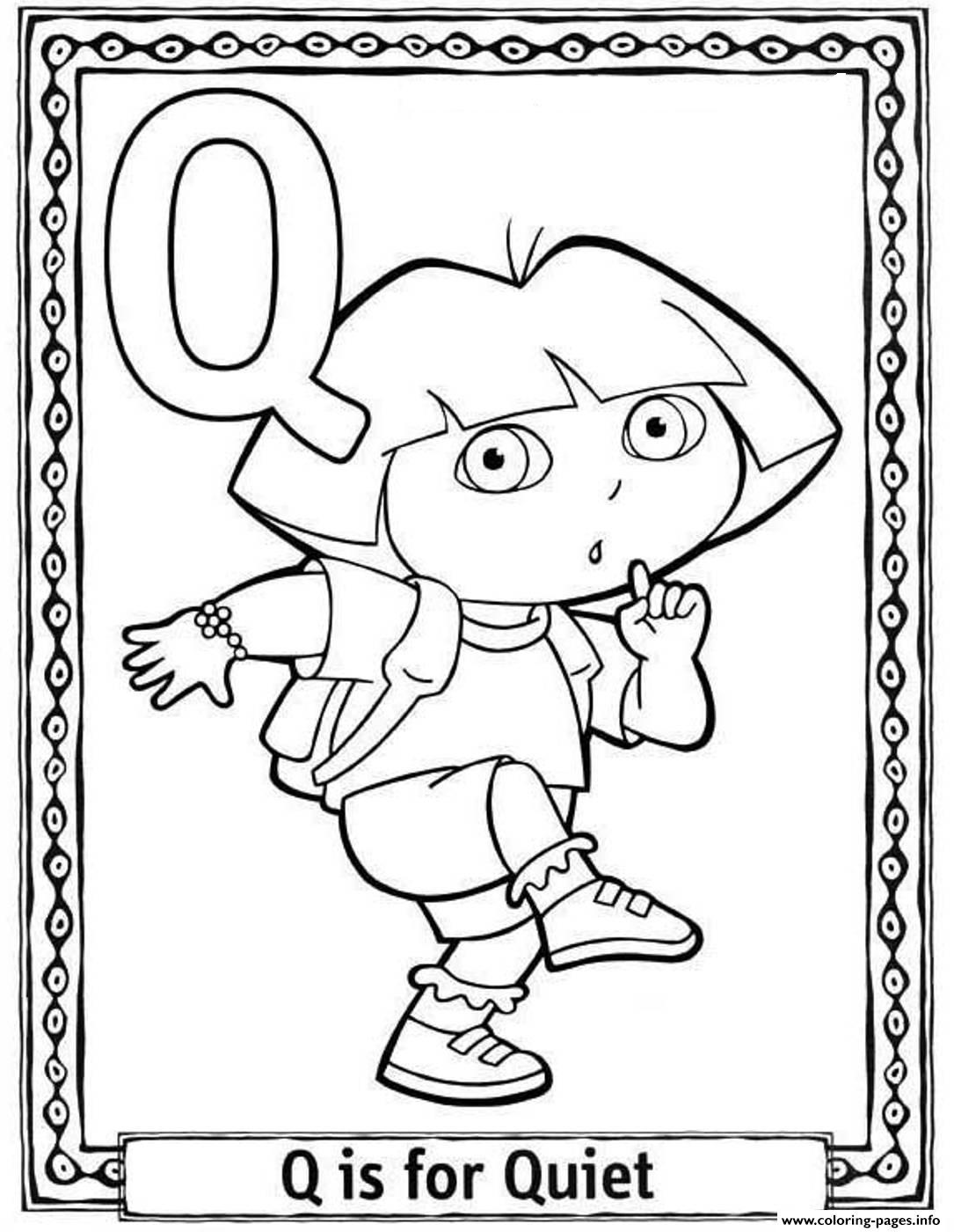 Dora Quiet Alphabet S0227 Coloring Pages Printable