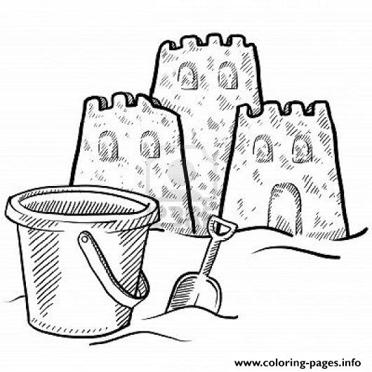 print sand castle and a bucket coloring pagef7cb coloring pages