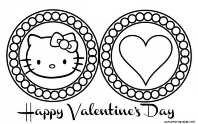 Cute Hello Kitty Valentines Day Scb30 Coloring Pages Printable