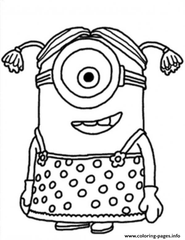 print little girl the minion coloring free printable