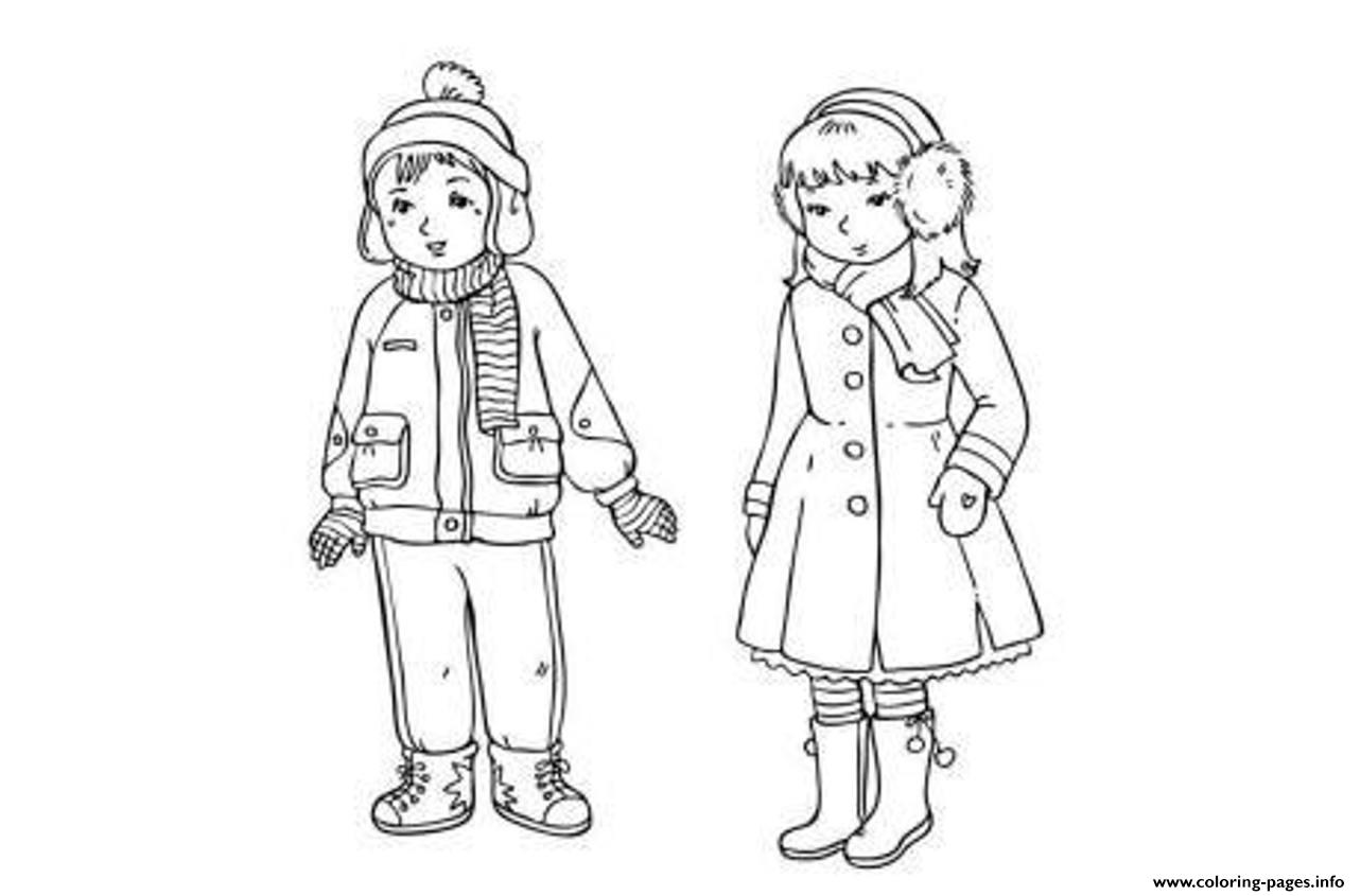 Winter S Clothes For Boy And Girlb04e Coloring Pages Printable