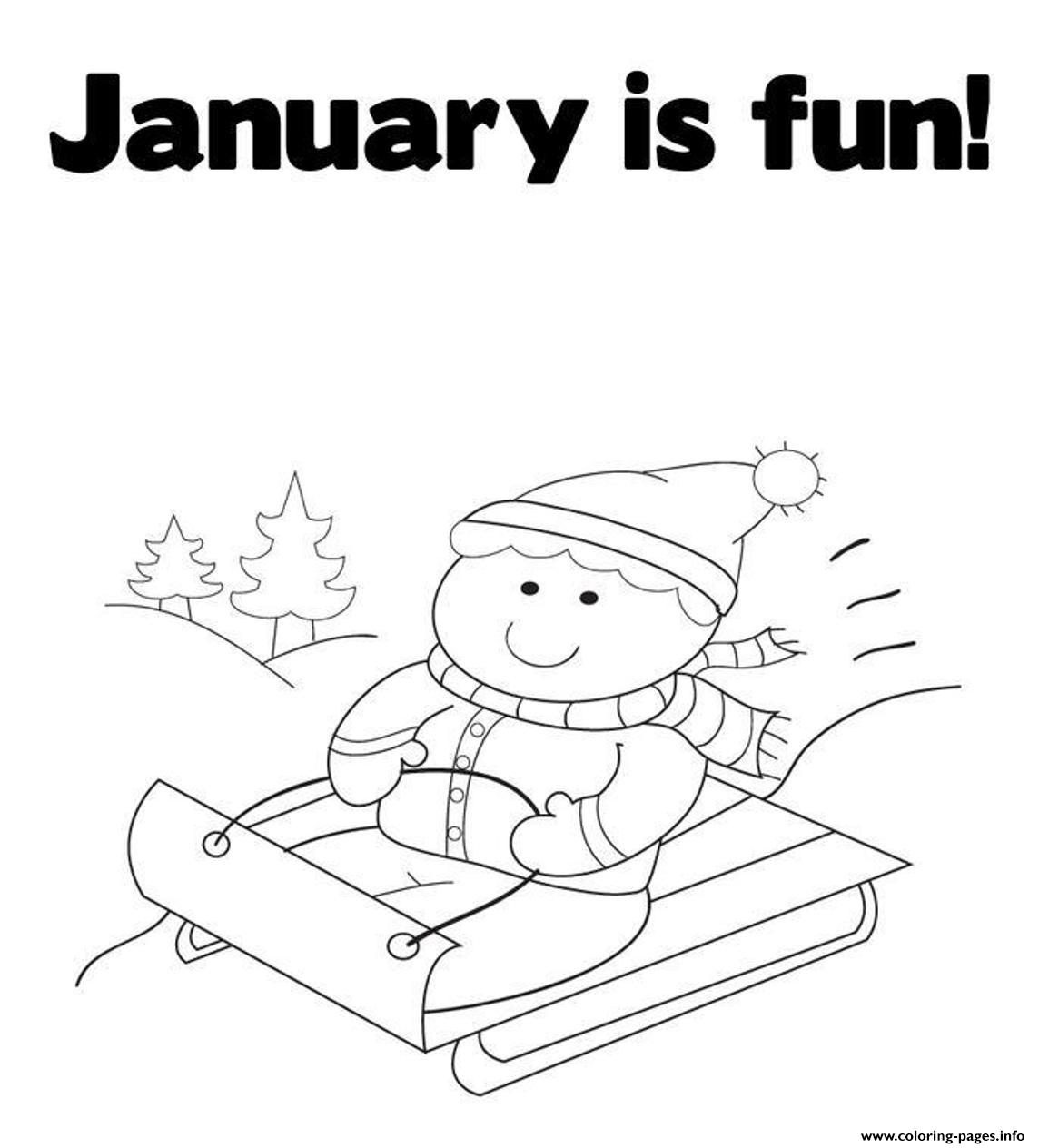 January Winter Activities Coloring Coloring Pages