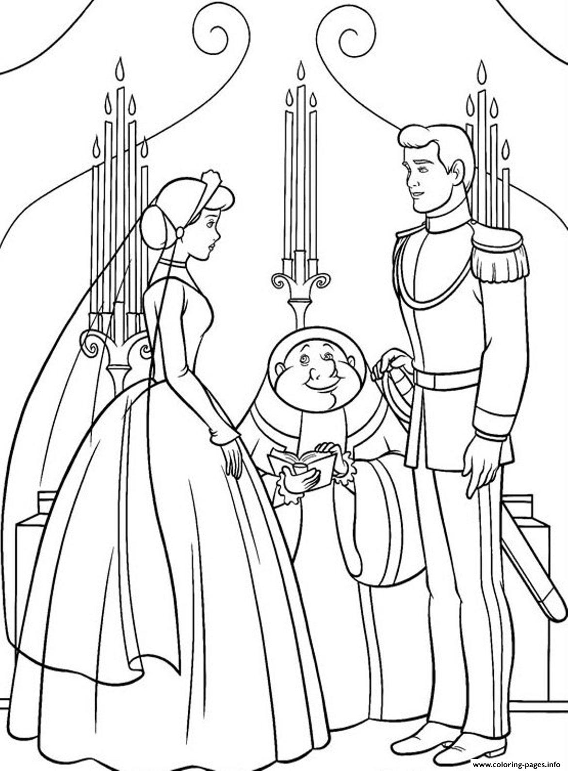 Princess Married With Prince Cinderella S For Kids Coloring Pages Printable