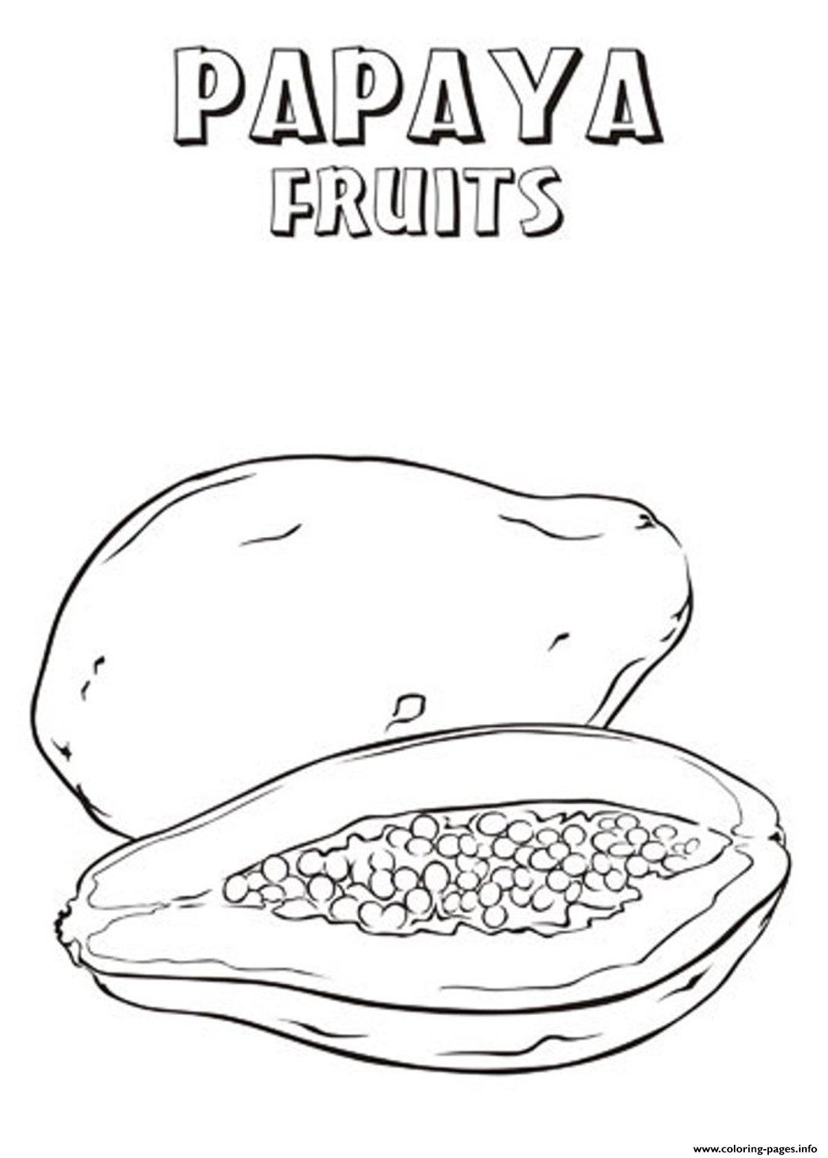 Printable Papaya Fruit S3e35 Coloring Pages Printable