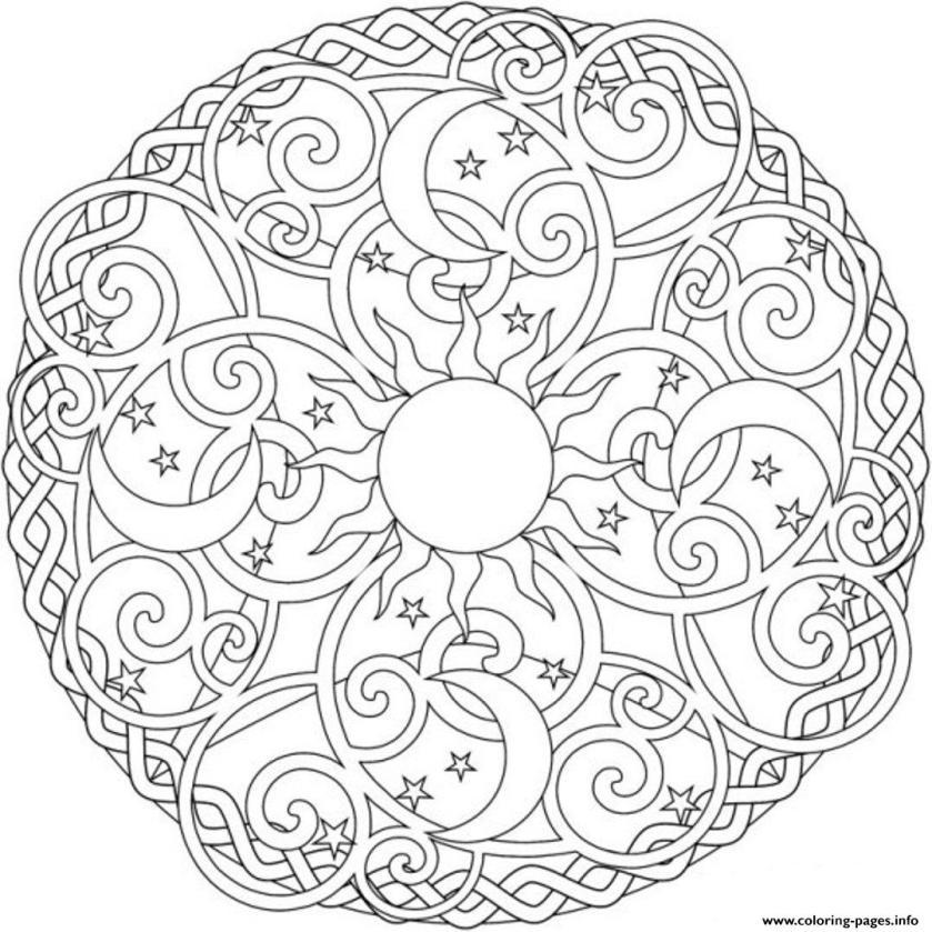 sun moon and stars mandala s2ada coloring pages printable