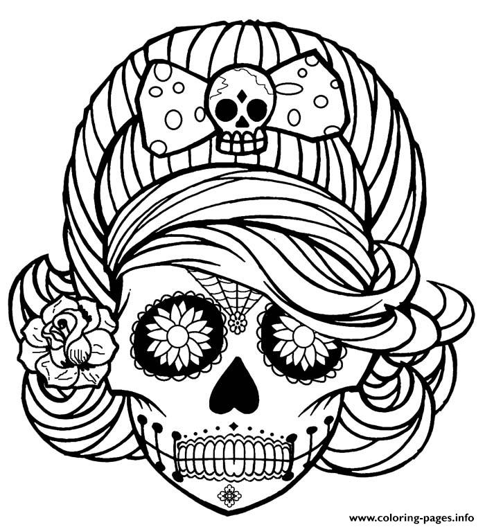 print girl skull cute adult coloring pages free printable