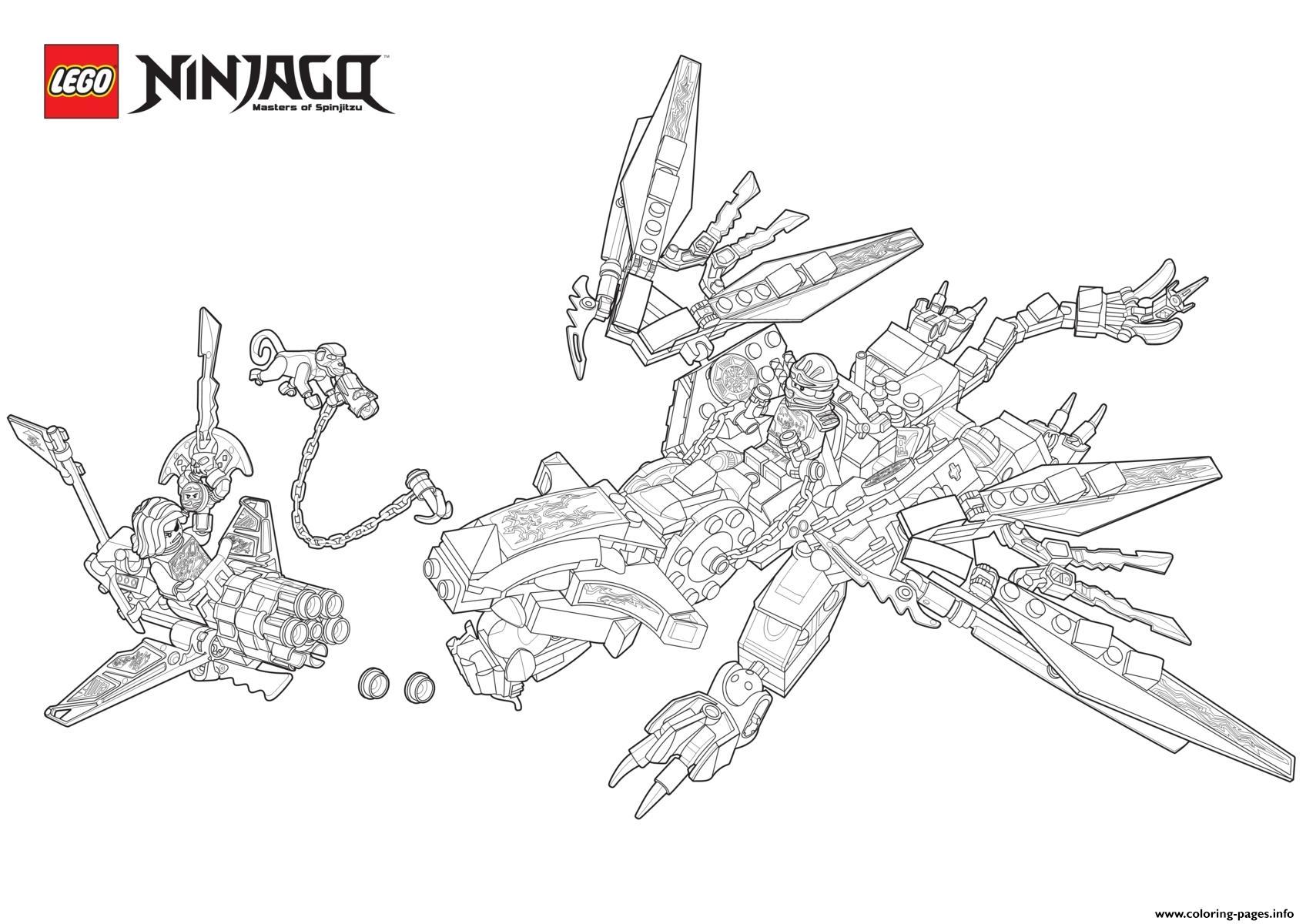 Ninjago Monster Dragon Lego Coloring Pages Printable