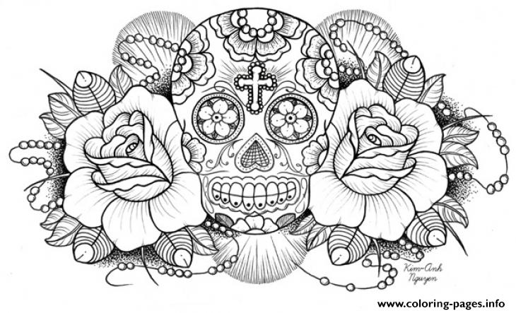 print very difficult sugar skull for adults coloring pages skull