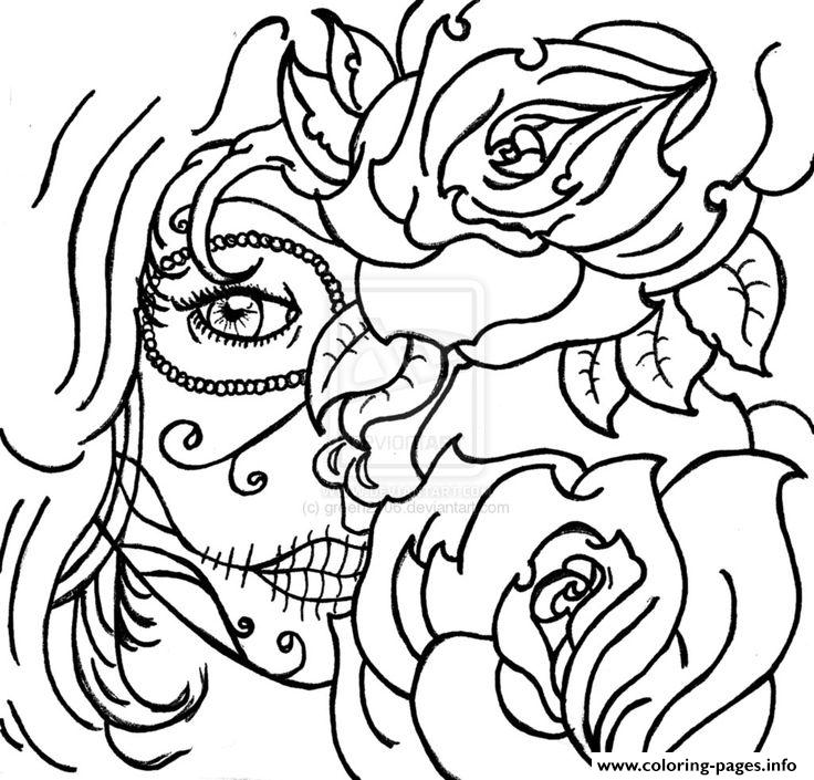 print sugar skull woamn flowers cool coloring pages free printable