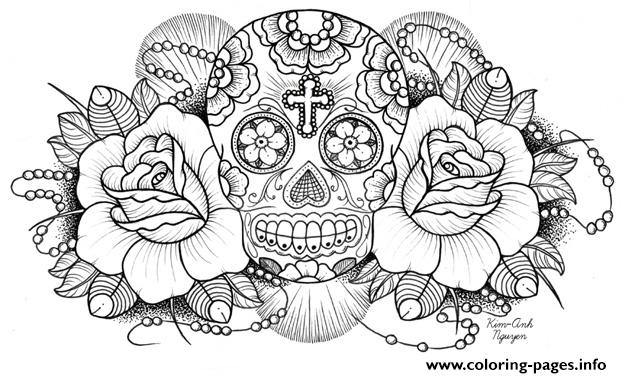 sugar skull roses w cross coloring pages printable
