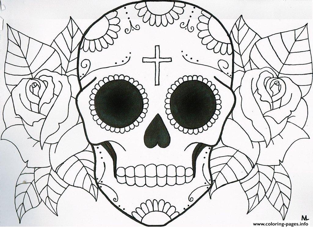 print very simple sugar skull flowers coloring pages free printable
