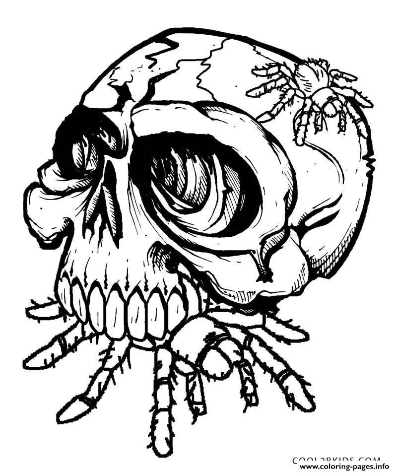print skulls eat spider coloring pages free printable