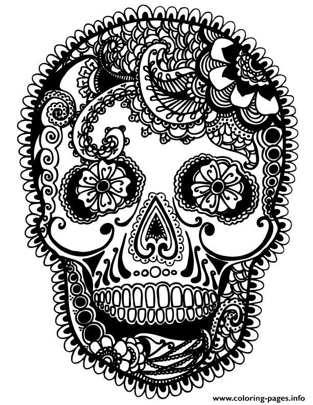 print skully sugar skull coloring pages free printable