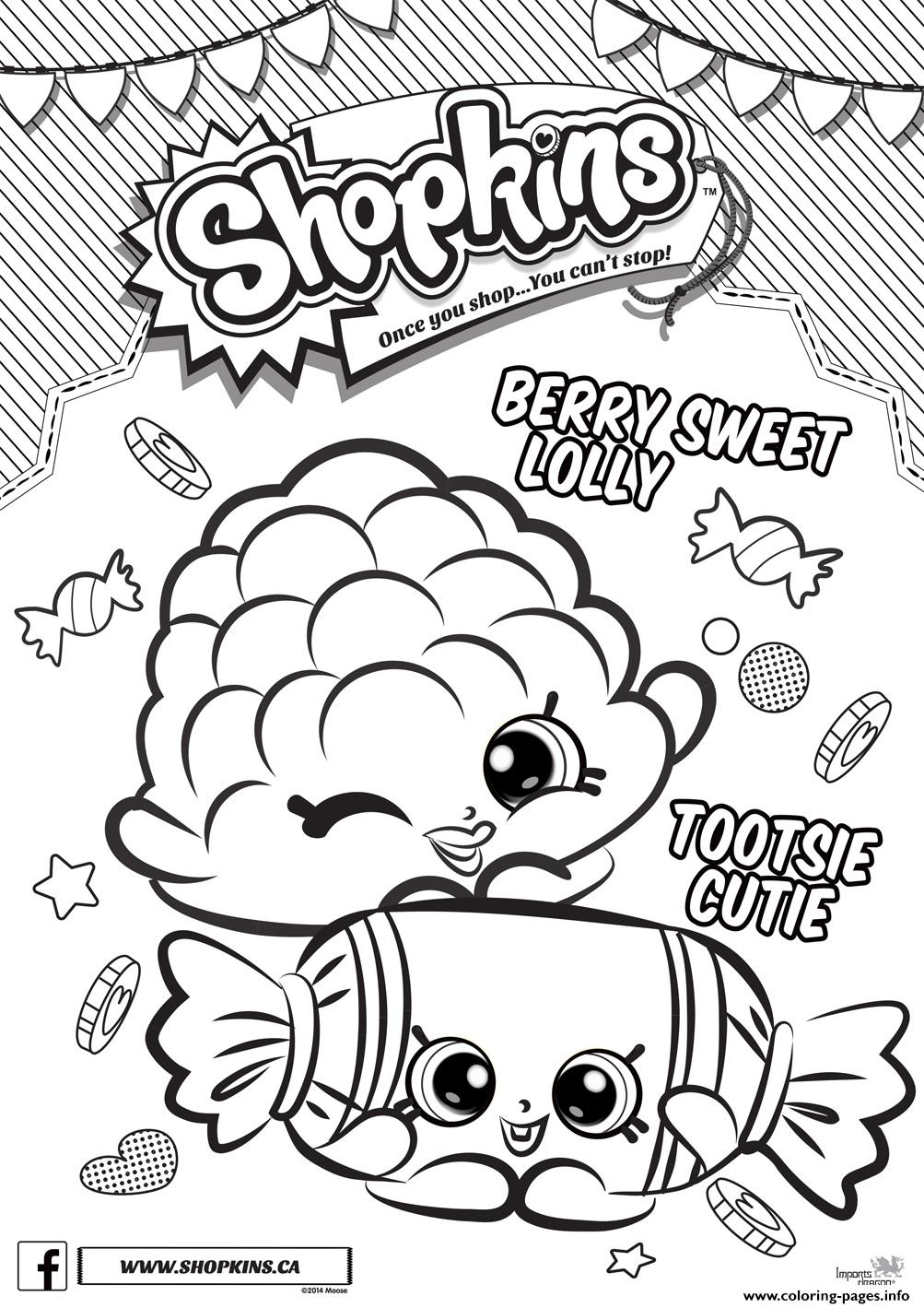 Shopkins Berry Sweet Lolly Tootsie Cutie Coloring Pages Printable