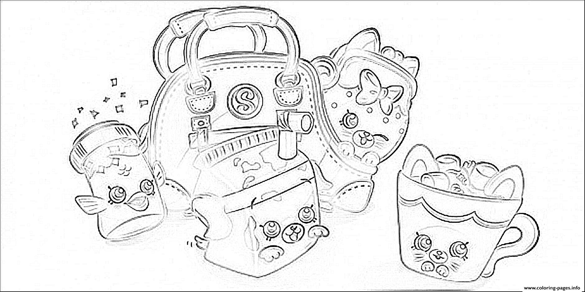 Cute Shopkins Bags Coloring Pages Printable