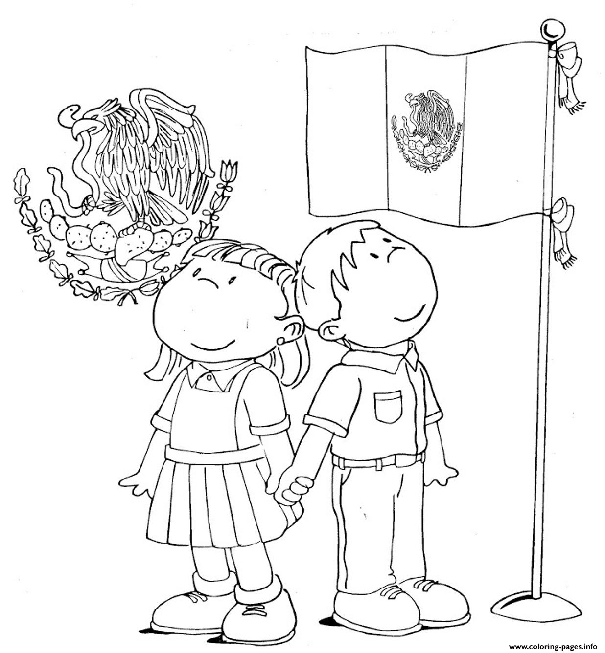 Mexican Flag Kids Coloring Pages Printable