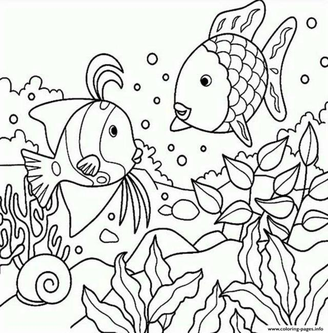 Rainbow Fish S Of Sea Animalsf20b20 Coloring Pages Printable