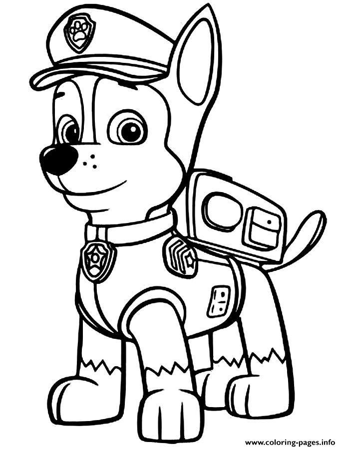 print paw patrol chase police man coloring free printable