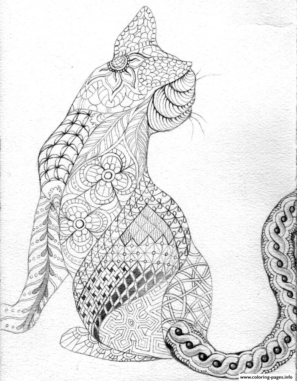 print adult difficult cat from back coloring pages free printable
