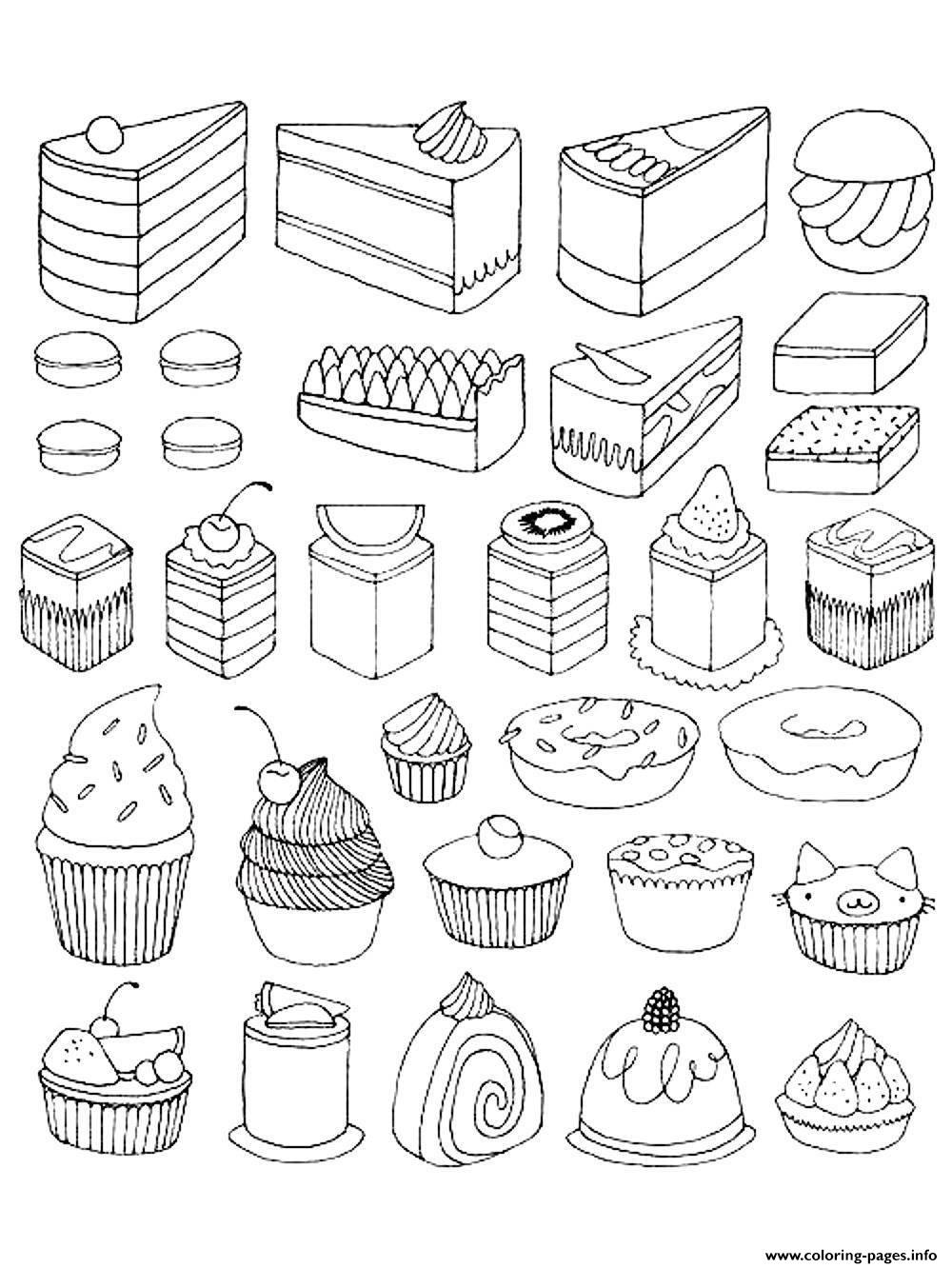 Adult Cupcakes And Little Cakes Coloring Pages Printable