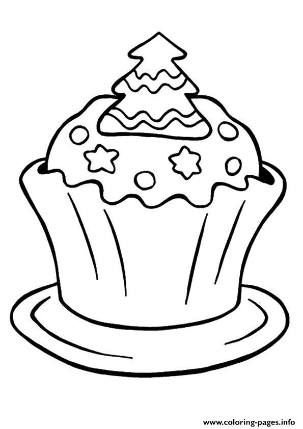 Christmas Cupcake Coloring Pages Printable