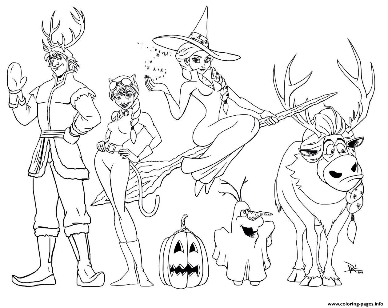 Frozen Halloween Coloring Pages Printable