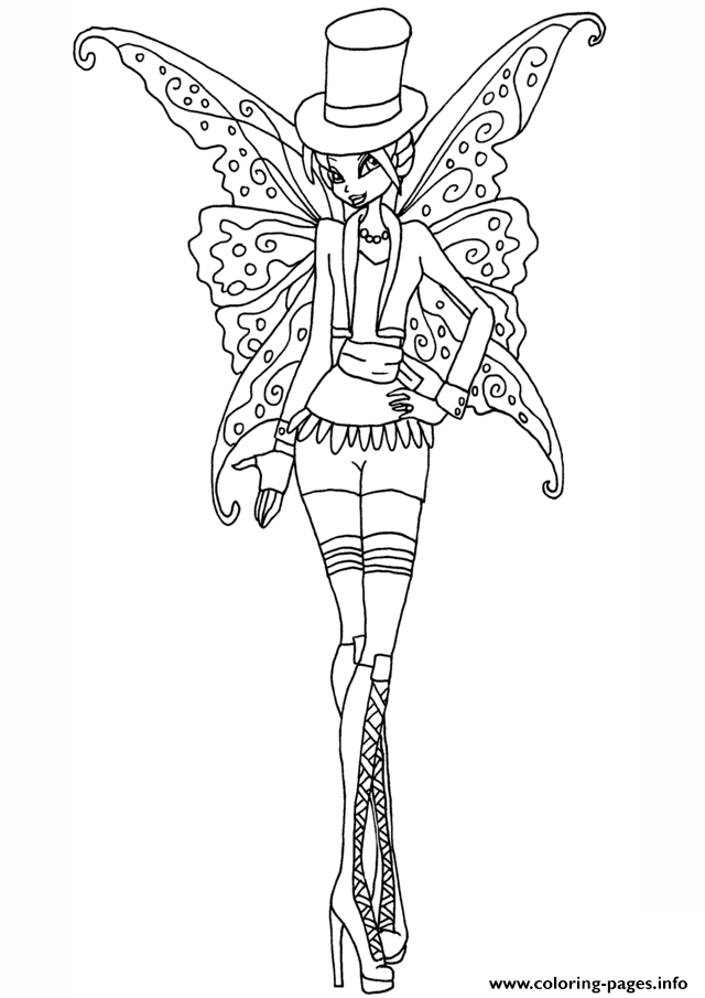 Gothic Bloom Winx Club Coloring Pages Printable