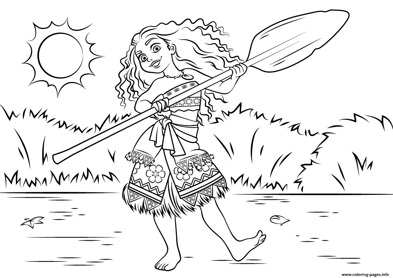 Princess Moana Waialiki Disney Coloring Pages Printable