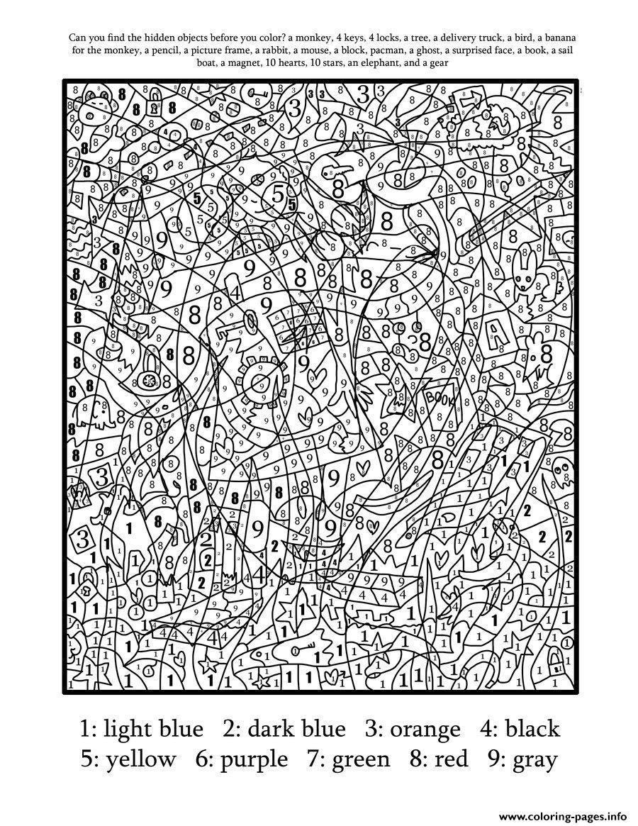 Really Hard Difficult Color By Number For Adults Coloring Pages