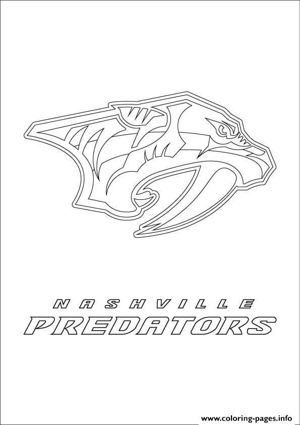 Nashville Predators Logo Nhl Hockey Sport Coloring Pages