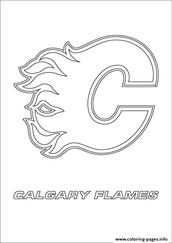 print calgary flames logo nhl hockey sport coloring pages free