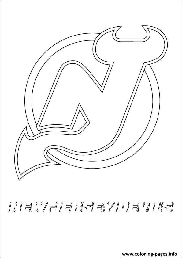 print new jersey devils logo nhl hockey sport coloring pages free