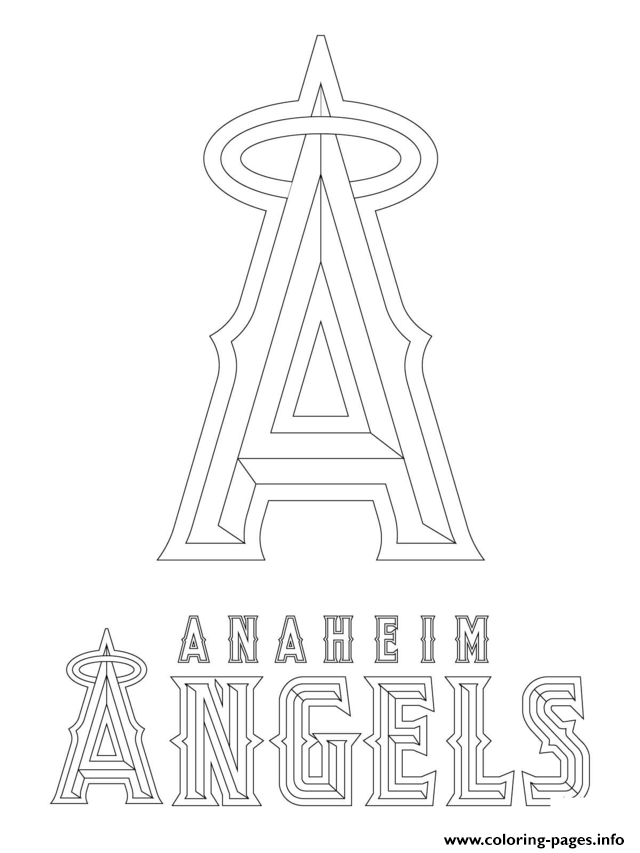 Anaheim Angels Logo Mlb Baseball Sport Coloring Pages