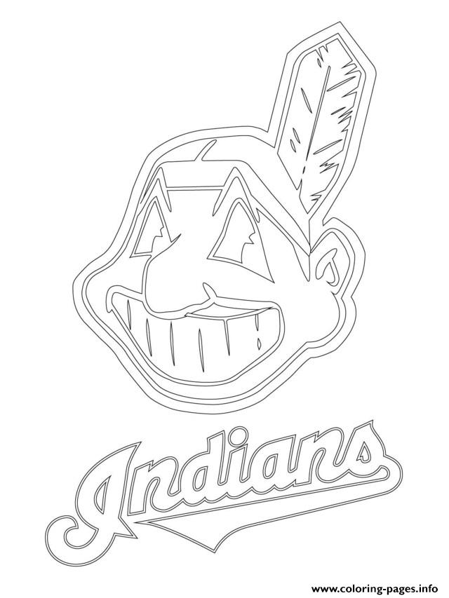 Clevelend Indians Logo Mlb Baseball Sport Coloring Pages