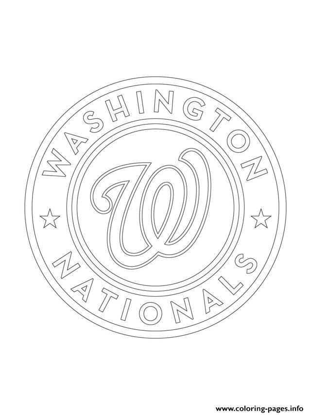 Washington Nationals Logo Mlb Baseball Sport Coloring