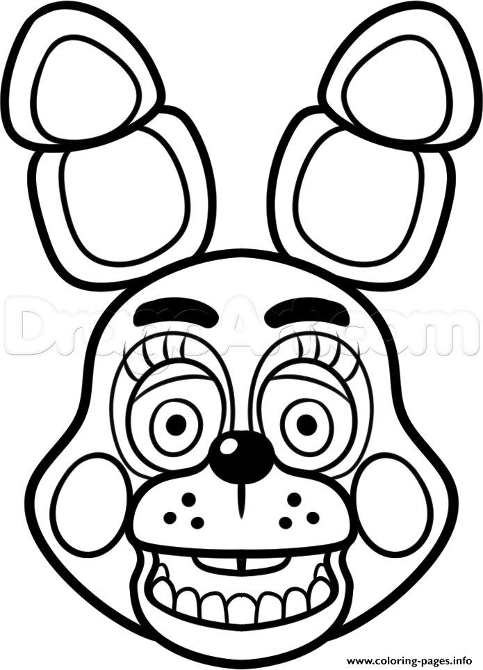 print mangle golden freddy face fnaf coloring pages free printable