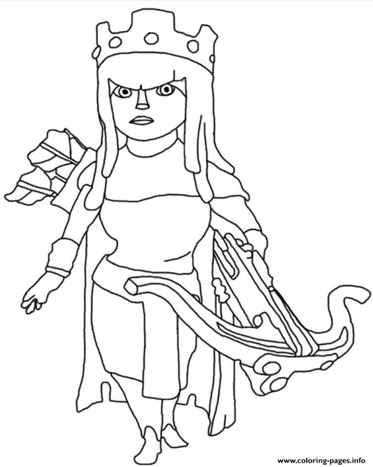 archer queen clash of clans coloring pages printable