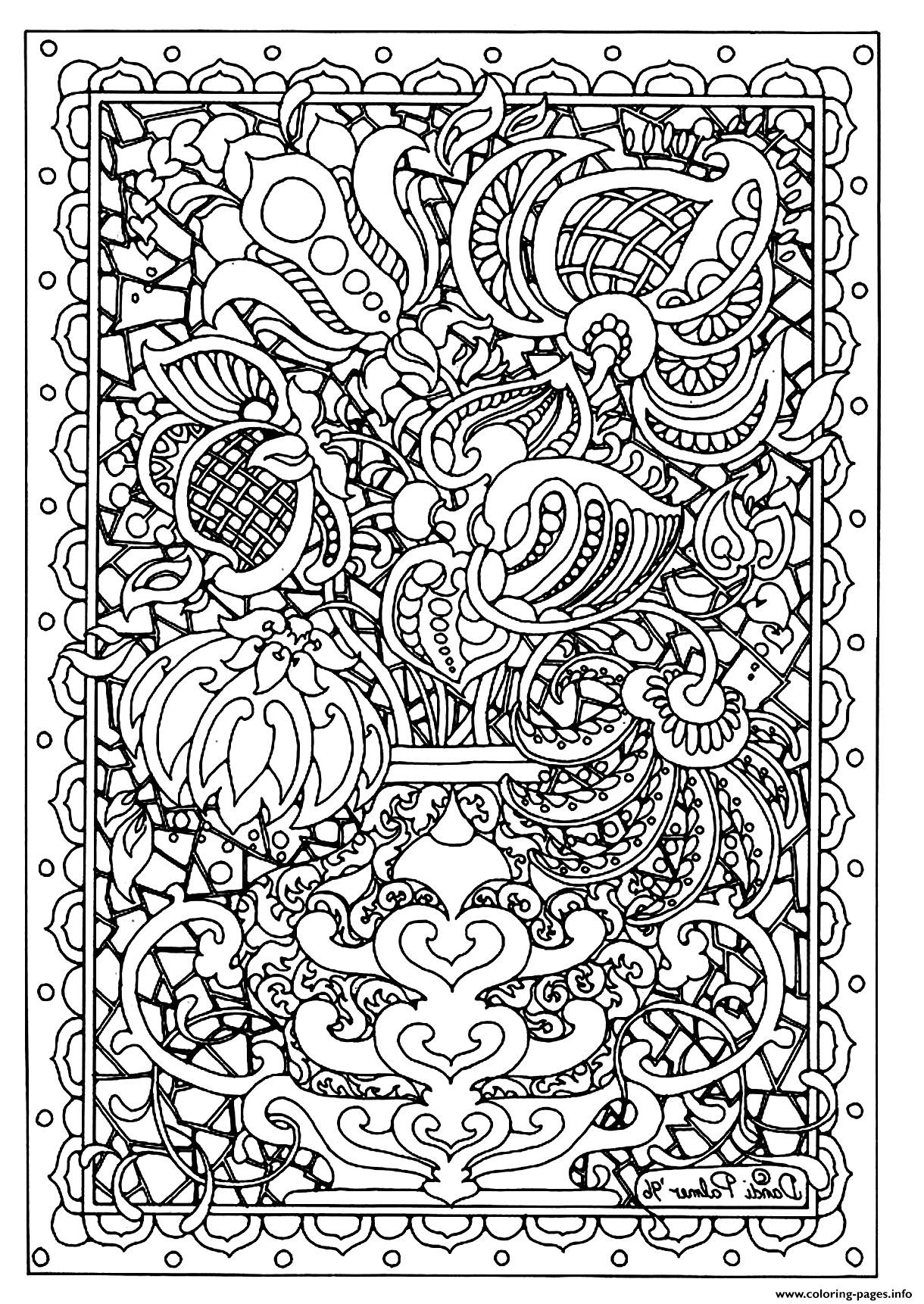 Pin Difficult Flower Colouring Pages