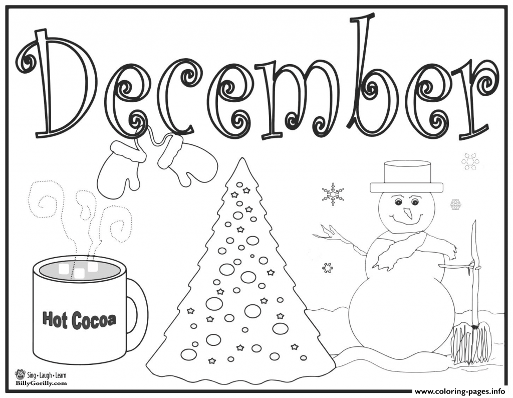 December Hot Chocolat Coloring Pages Printable