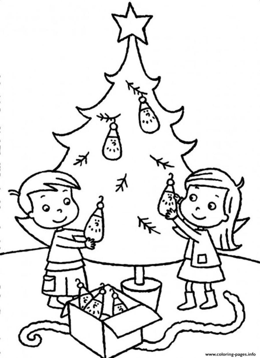 Sibling Decorating Christmas Tree B198 Coloring Pages ...
