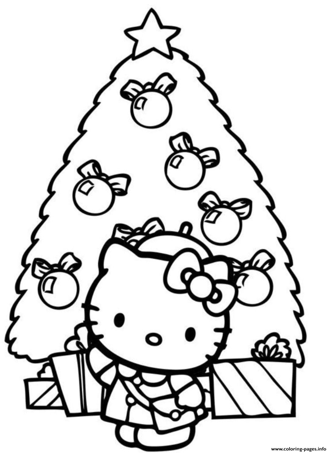 Christmas Tree Hello Kitty Coloring Pages Printable