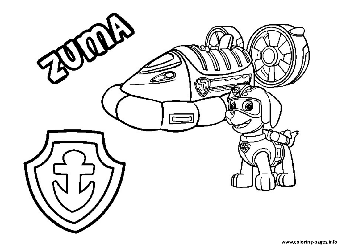Paw Patrol Zuma S Hovercraft Vehicle Coloring Pages Printable