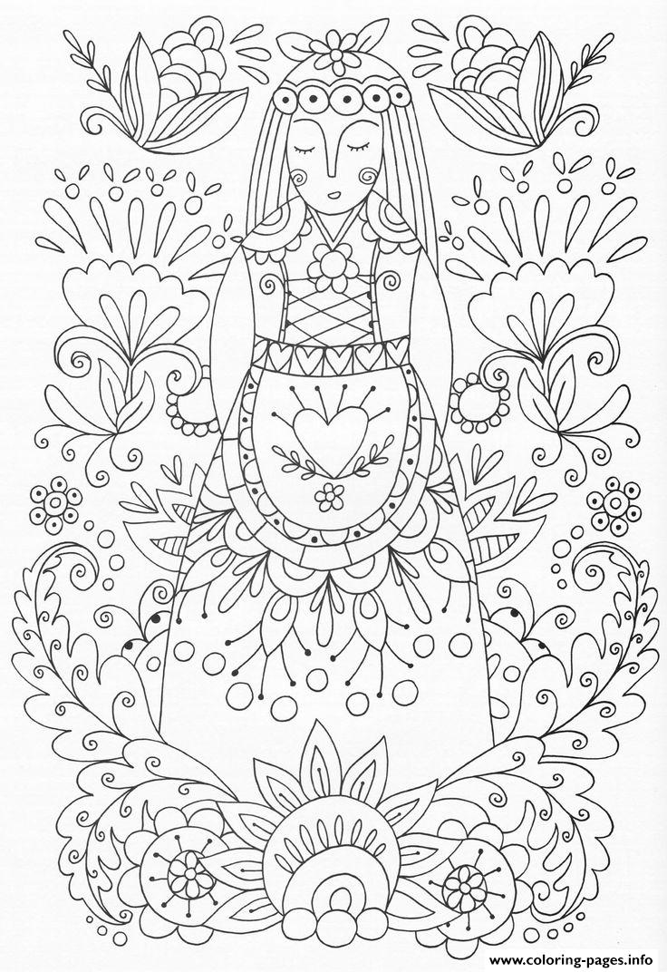 Woman Flowers Adult Zen Yoga Coloring Pages Printable